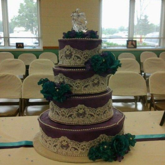 Purple and blue wedding cake