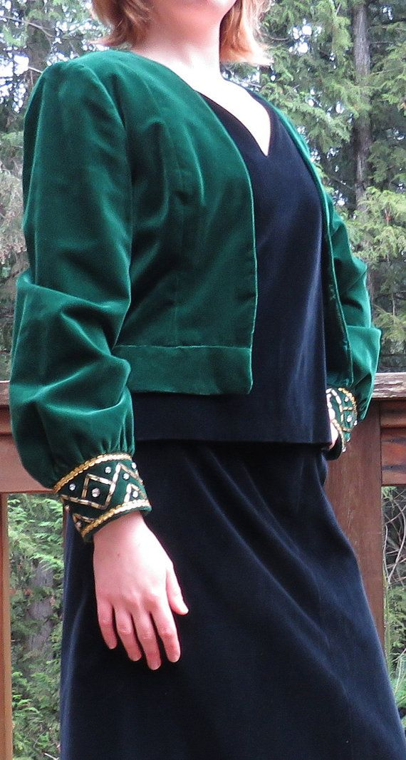 HOLIDAY SALE RARE Vintage 50's Mad Men Kleinertz Emerald Green Velvet Bolero / Shrug/ Jacket Haut Couture, Size Medium, Movie Star Vintage