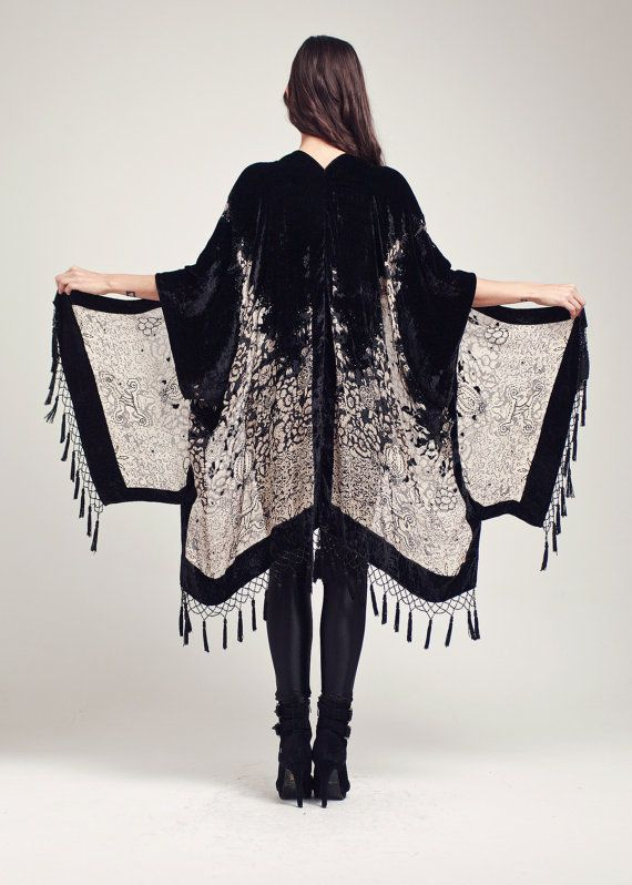 So Stevie Nicks // Black Velvet Fringe Kimono Midnight Magic by shevamps on Etsy
