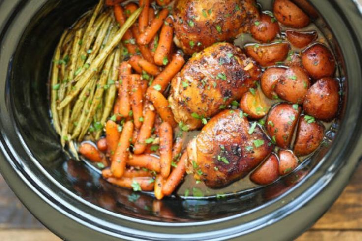 Ingredients:  Two boneless skinless chicken breasts  3 cups whole green beans (fresh)  5 medium red potatoes (cut up in chunks)  1 package dry ranch dressing mix  1 package dry chicken gravy mix  1/2 stick butter  1/3 cup water    Directions:    Wash and place green beans