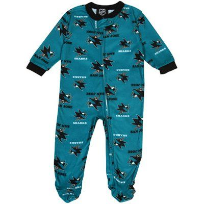 San Jose Sharks Newborn Logo Print Blanket Sleeper - Teal