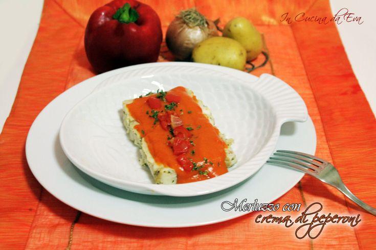 Merluzzo con crema di peperoni