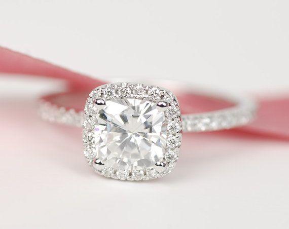 Forever Brilliant Enhanced Cushion Moissanite Diamond Ring 14K White Gold