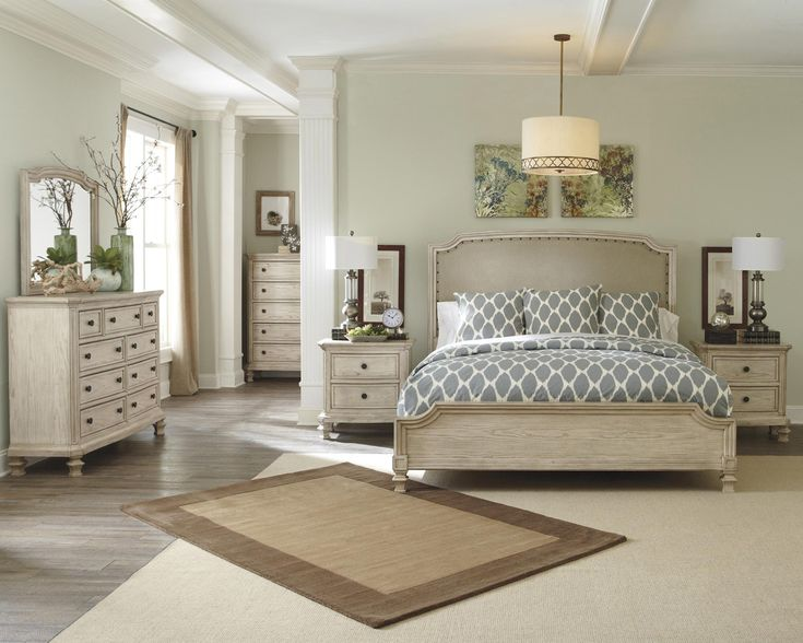 ashley bedroom furniture. demarlos king upholstered panel bedroom set by ashley - home gallery stores furniture o