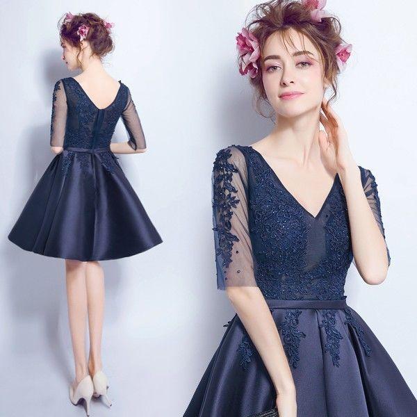 halbarm cocktailkleid amra in dunkelblau mode fashion kleider