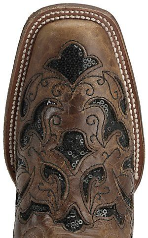 Corral Women's Distressed Light Brown with Black Sequin Inlay Square Toe Western Boots | Cavender's