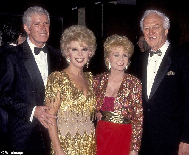 Third time not-so-lucky: Her last husband, Richard Hamlett and the actress are pictured next to actress Ruta Lee and Websiter Lowe Jr in 1991