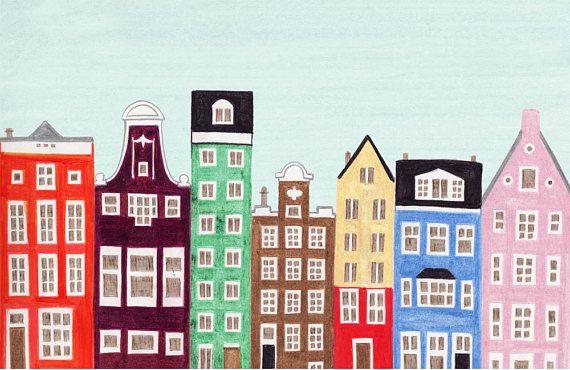 Amsterdam Netherlands 11 X 17 Dutch Buildings And Houses Scandinavian Design Colorful Nursery Illustration Art Print In 2020 Nursery Illustration Illustration Art Nursery Colors