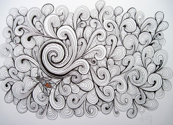 """""""A Curl"""" Original pen and ink drawing"""