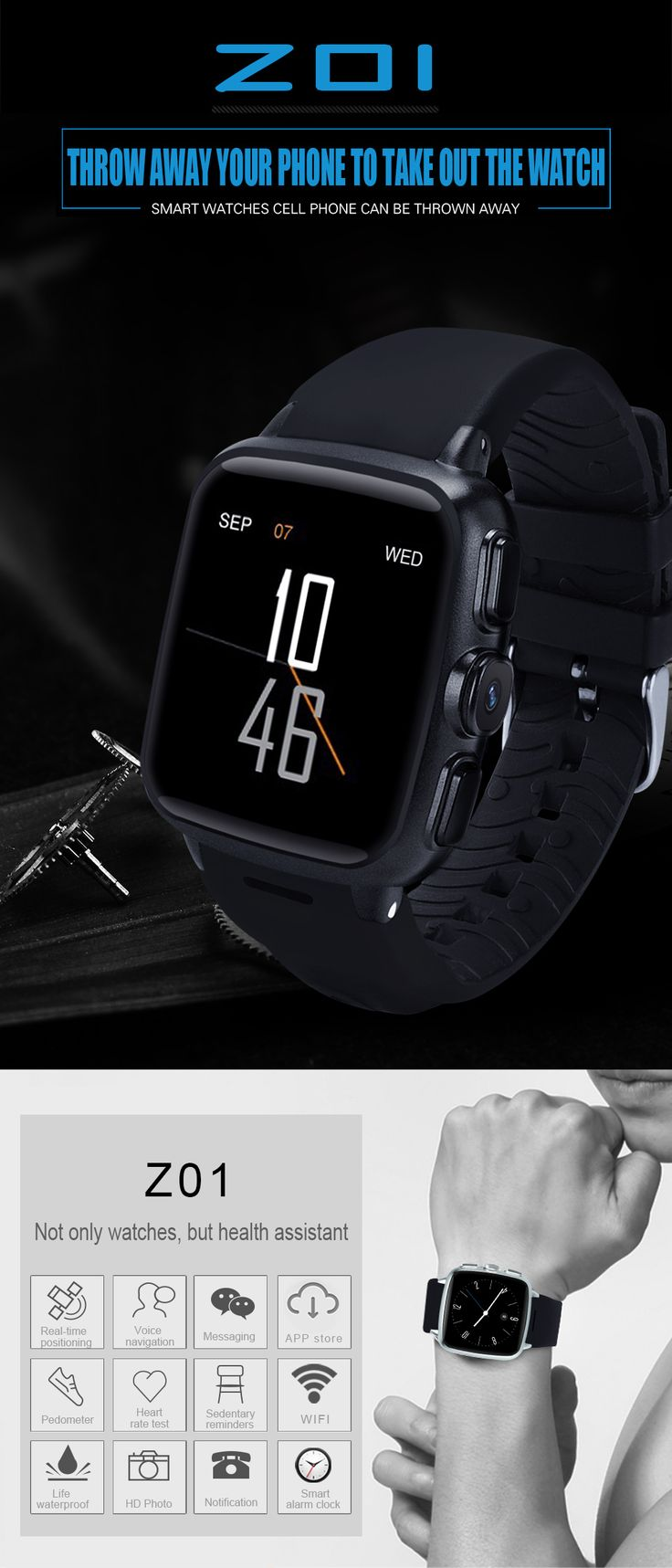 Z01 ВАЙ-ФАЙ 3G WCDMA 500 миллионов пикселей камеры Android 5,1 GPS Спортивные записи смарт-часы
