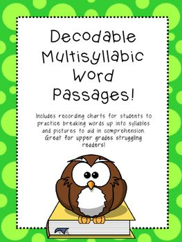 I use these passages with my 3rd, 4th, and 5th grade struggling readers to specifically focus on the skill of decoding multisyllable words. I found that many resources out there for decoding these words had students reading them in isolation instead of in text.
