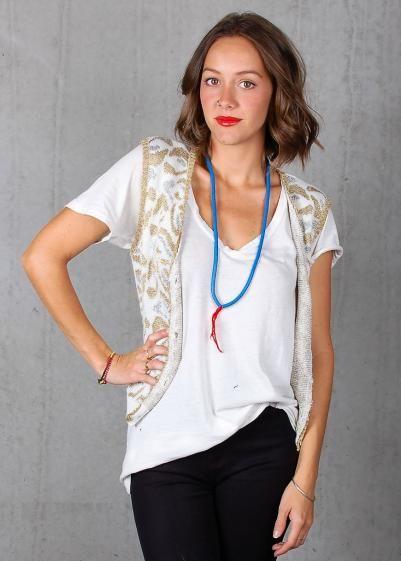 Round She Goes - Market Place - Silver Gold Lurex Knit Vest