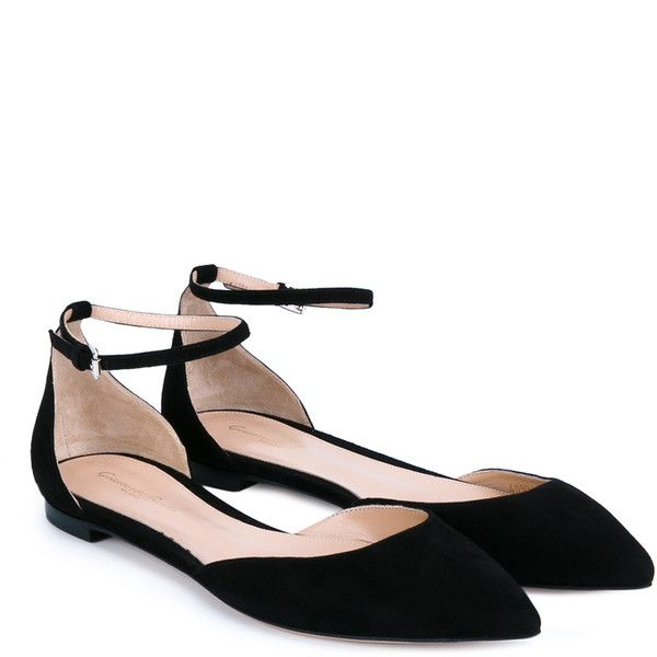 Gianvito Rossi Gia Point-Toe Flats (£380) ❤ liked on Polyvore featuring shoes, flats, black ankle strap shoes, suede flats, black pointed toe flats, black flat shoes and pointed-toe ankle-strap flats