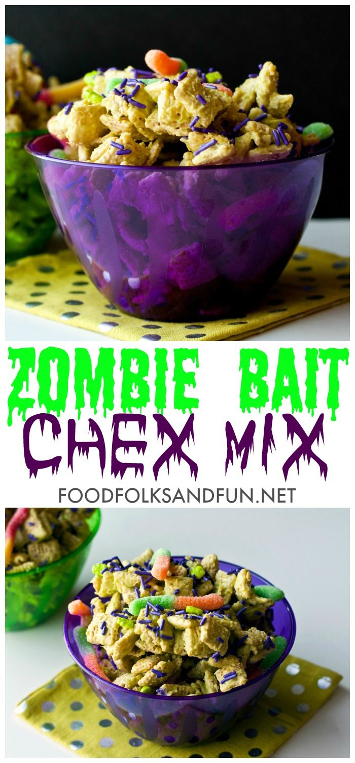 This Zombie Bait Chex Mix Recipe is a fun Halloween treat. Grab the kids, they'll LOVE making it with you! Plus you'll only need 4 ingredients!