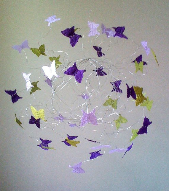 Girls Room Butterfly Decor Butterfly Mobiles Purple Lavender Baby Girl Mobile on Etsy, $38.00