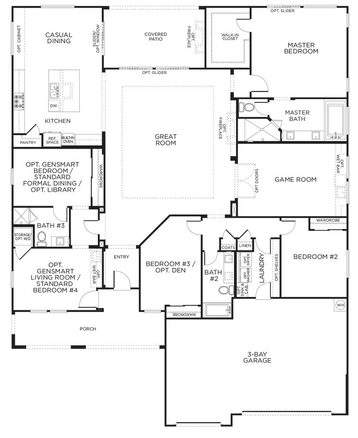 Durango trail model plan 2a floorplan singlestory - Model house design with floor plan ...