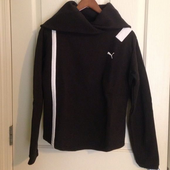 Puma Sweatshirt Black Very cute Puma sweatshirt in black size small. The neck is similar to cowl neck. U can wear it down or up (see pics). Puma Tops Sweatshirts & Hoodies