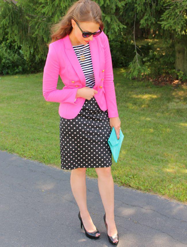Stripes, polka dots, and pinkFashion, Dots Pencil, Dresses, Black White, Hot Pink, Blazers Style, Stripes, Blazers Black, Collars Shirts