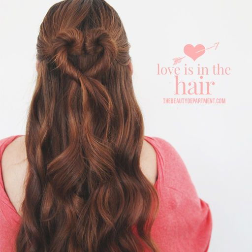 Adorable heart-shaped bun for Valentine's Day -- my 7yo wants me to do her hair like this!