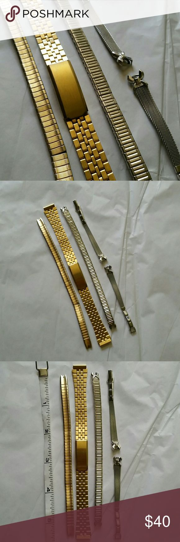 4 Vtg SS Watch Bands Hong Kong Replacement watch bands Vintage  Made in Hong Kong Stainless steel  Three silver tone and one gold tone Top on last picture needs repair at bend  Speidel  Bottom silver tone is 1/20 10kgf Speidel Accessories Watches