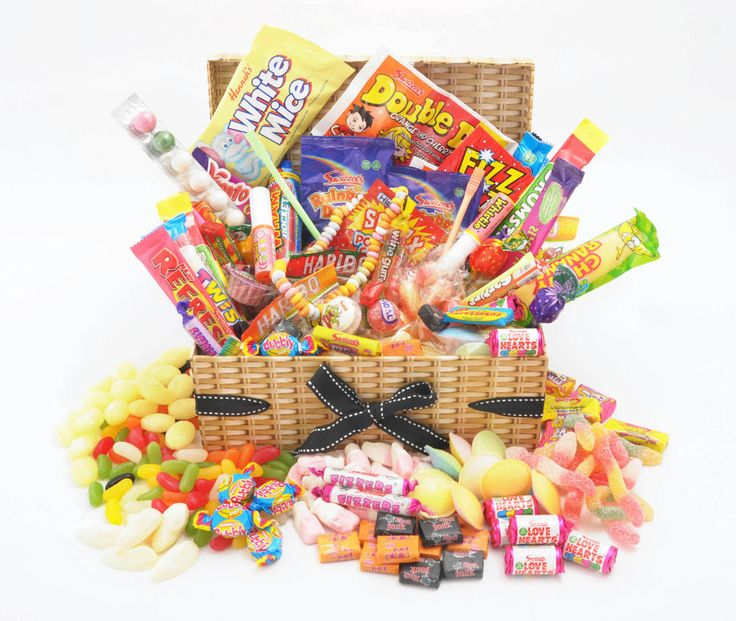 We are delighted to present our fabulous retrotasticLUXURY RETRO SWEET HAMPER that will satisfy anyone young or old with a sweet tooth! Presented in a tissue linedhigh quality Wicker effect keepsake box complete with lid and attached decorative ribbons. | eBay!