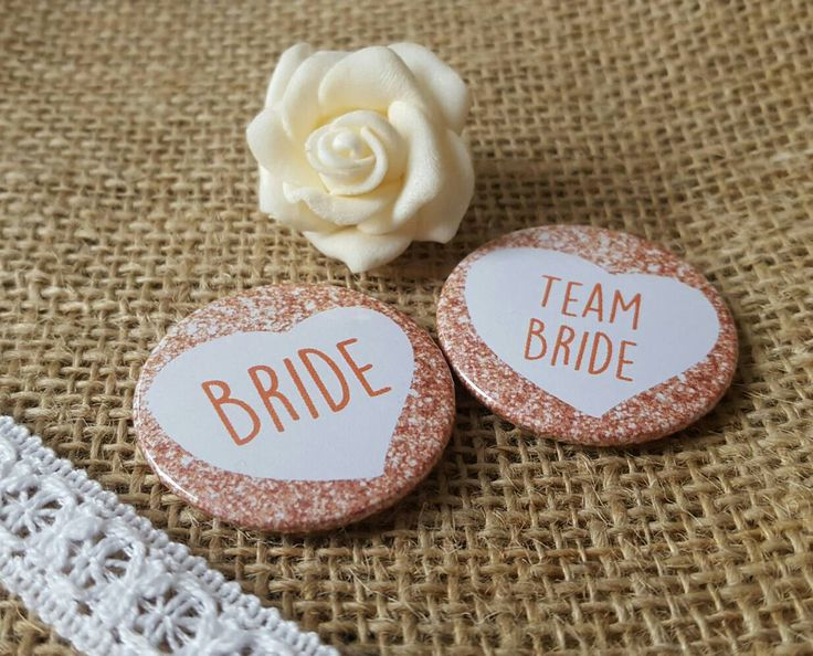 38mm (1.5inch) Size - Quirky Heart Hen Do Badges / Hen Party Badges / Wedding / Team Bride Badge (A Set) -Rose Gold/Pink Printed Glitter by OneFabLife on Etsy https://www.etsy.com/uk/listing/504271299/38mm-15inch-size-quirky-heart-hen-do