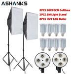 8PCS Lamps E27 LED Bulbs Photography Lighting Kit Photo Equipment+ 2PCS Softbox Lightbox+Light Stand For Photo Studio Diffuser