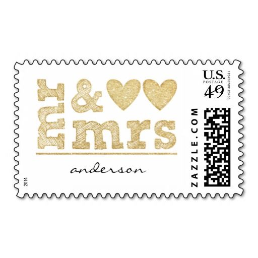 Mr Mrs Gold Sparkle Hearts Wedding Postage Stamp