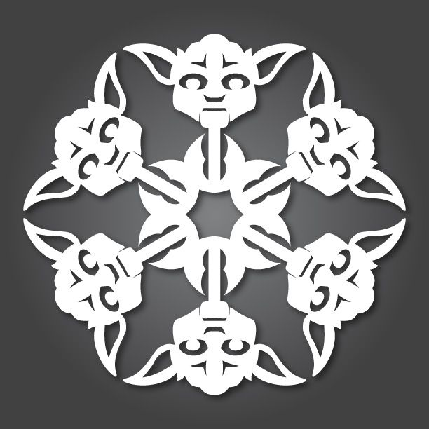 Star Wars snowflakes. This site has diagrams for 12 different characters so you can make your own.