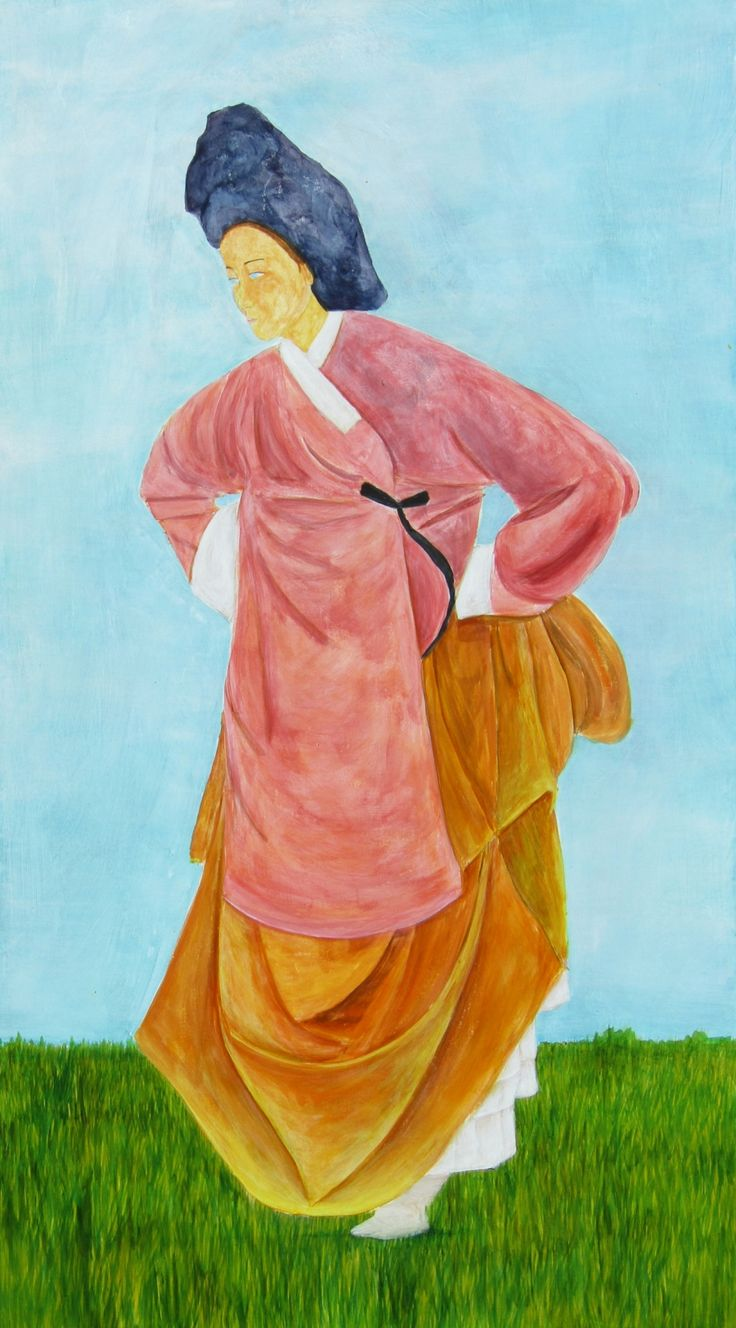 Go Lightly 90 x 50 cm #hanbok #womanwalking #grasses #eurasian #contemporary #art #painting #colour
