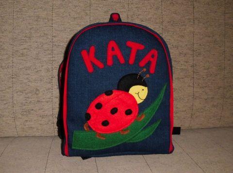 Katicás hátizsák - névre szóló, Baba-mama-gyerek, Táska, Hátizsák, Kislányoknak készült ez a hátizsák, ami nem is olyan kicsi! Belefér minden, ami fontos.  Alapa..., Meska