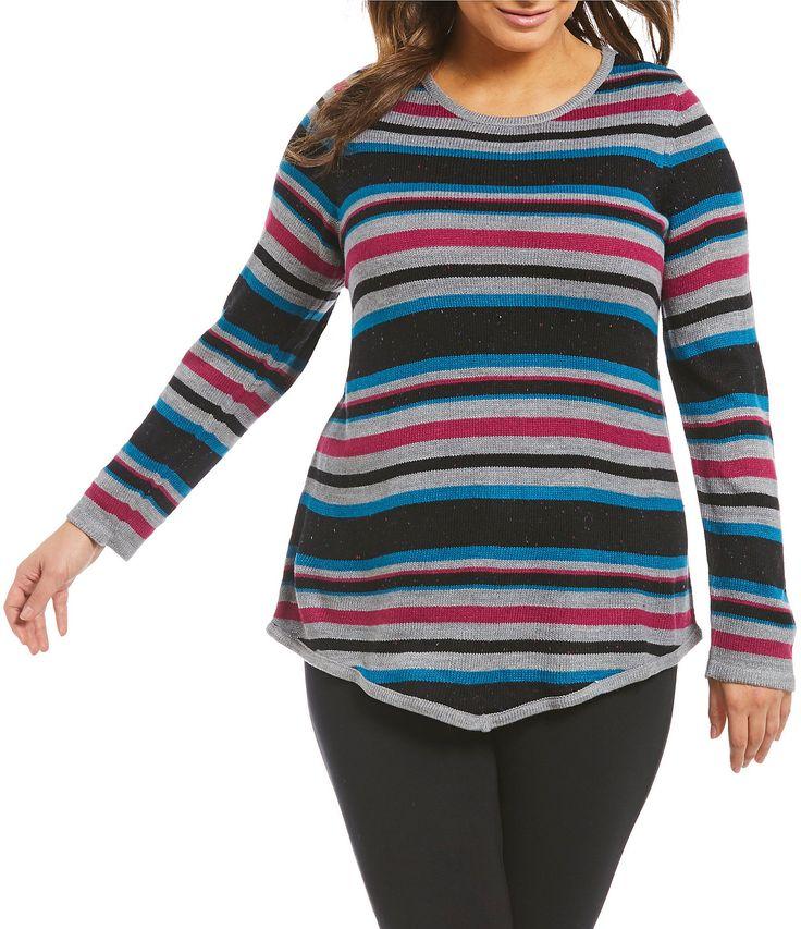 Westbound Plus Point Hem Stripe Sweater #Dillards
