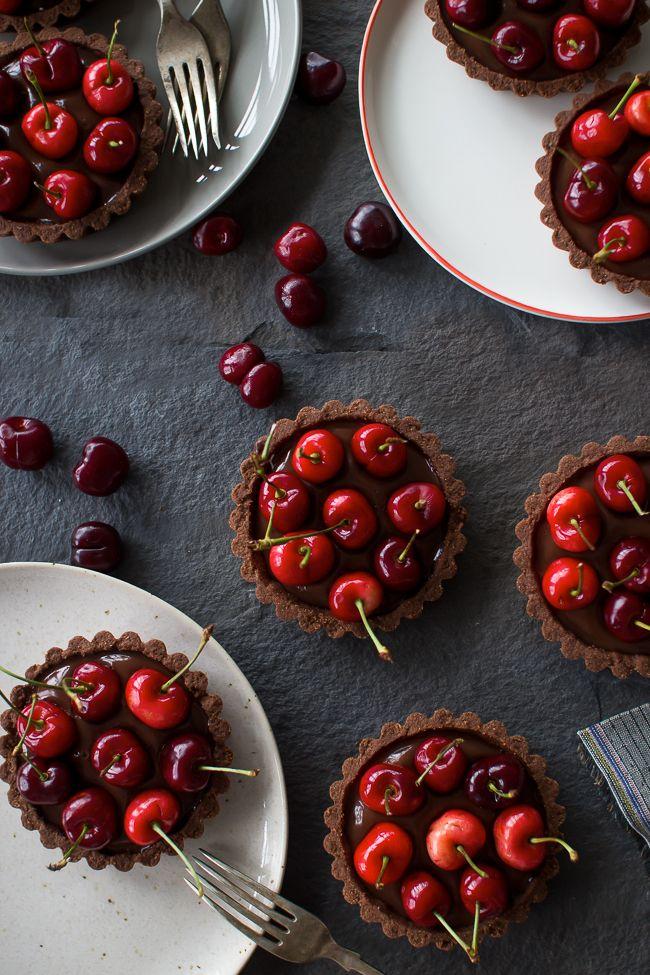 Chocolate Coconut Cherry Tarts | The Flourishing Foodie