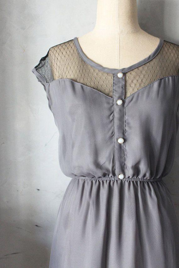 PETIT DEJEUNER GRAY Grey chiffon dress black by FleetCollection