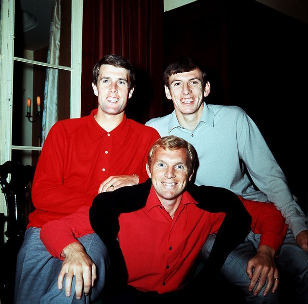 Bobby Moore, Geoff Hurst and Martin Peters of England 1966