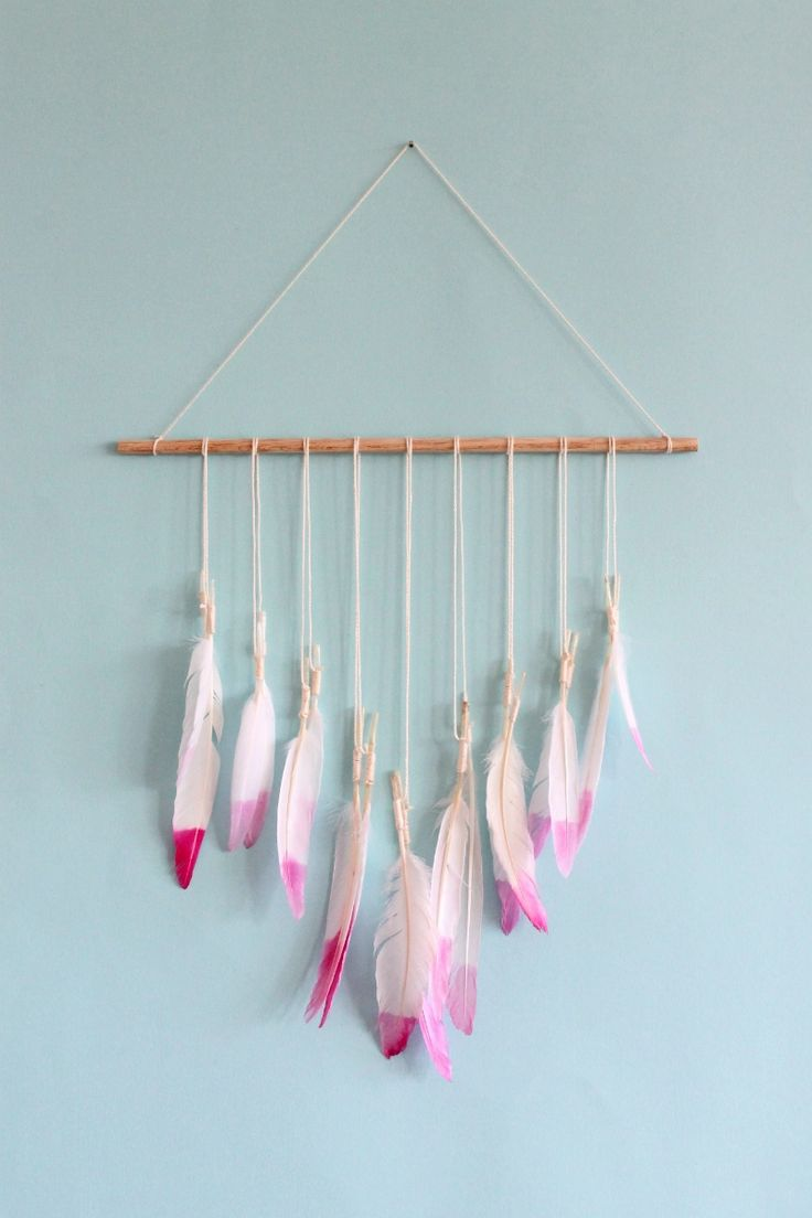 beautiful feather wall art scraps of us : DIY dip dyed feather wall hanging