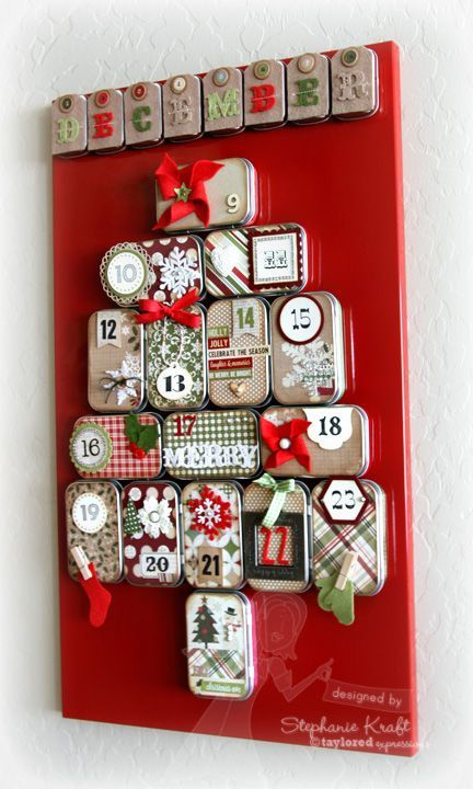 advent calendar using mini altoid tins plus supplies from Taylored Expressions. Found on 11/16/13.