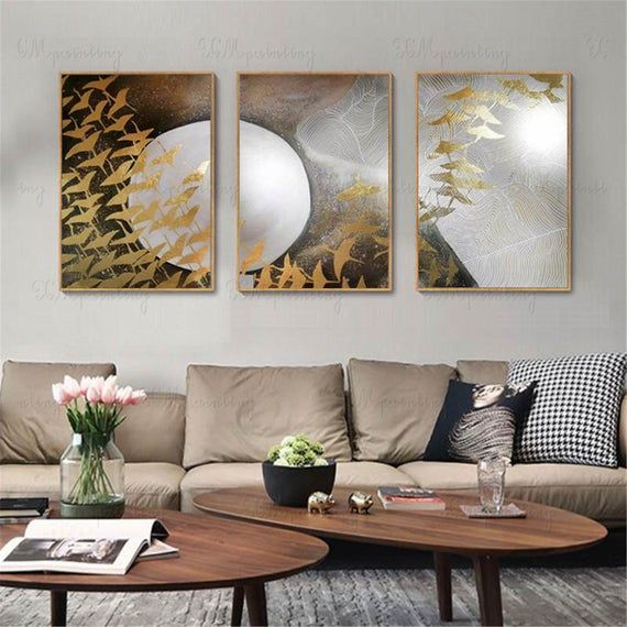 3 Pieces Original Abstract Painting Canvas Wall Art Pictures For Living Room Wall Decor Bedroom Dining Room Acrylic Gold Birds Home Decor In 2020 Living Room Pictures Room Wall Decor Wall Art Pictures