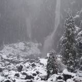 There's nothing like experience large soft snow falling with backdrop of Yosemite Falls during winter.
