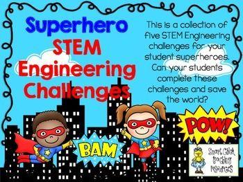 STEM Engineering Challenge Pack ~ Superhero Challenges ~ Set of Five!  $ Tallest Skyscraper Challenge Farthest Flying Plane Challenge Strongest Spider Web Challenge Longest Bridge Challenge Fastest Balloon Rocket Challenge