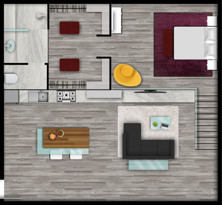 Urban style loft floor plan rendered by e render Rendering floor plans