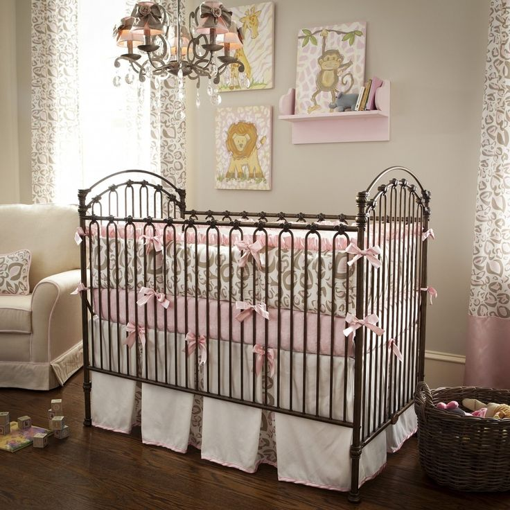 Baby Room Entrancing Baby Bedroom Decoration Using White Baby Bed Valance Along With Pink Leopard Crib Bedding And Black Iron Baby Cribs Gorgeous Baby Nursery Room Decoration Using Pink Leopard Crib B