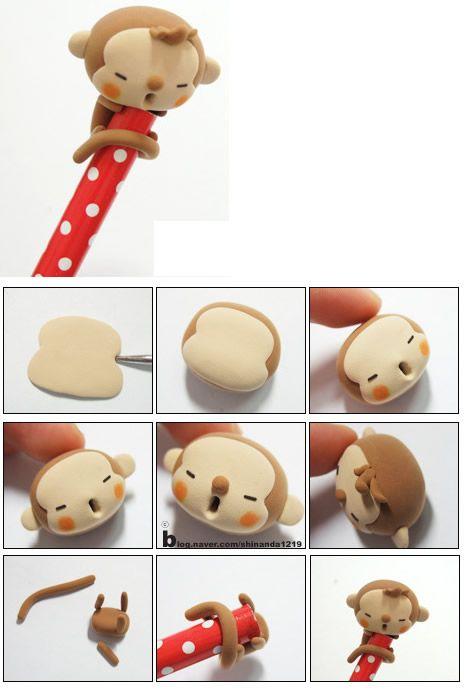 Turorial : How to make a cute monkey polymer clay / Tutoriel : Réaliser un singe mignon pour décorer un crayon en pâte polymère Il n'y a pas d'explication, car c'était du coréen, en image, donc impossible de traduire. source : source : http://blog.na...