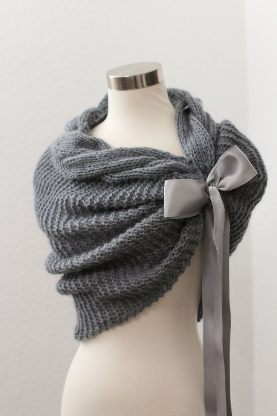 Grey Bolero, Wedding Bolero, Bridal Cape, Knit Shawl, Bridal Shawl