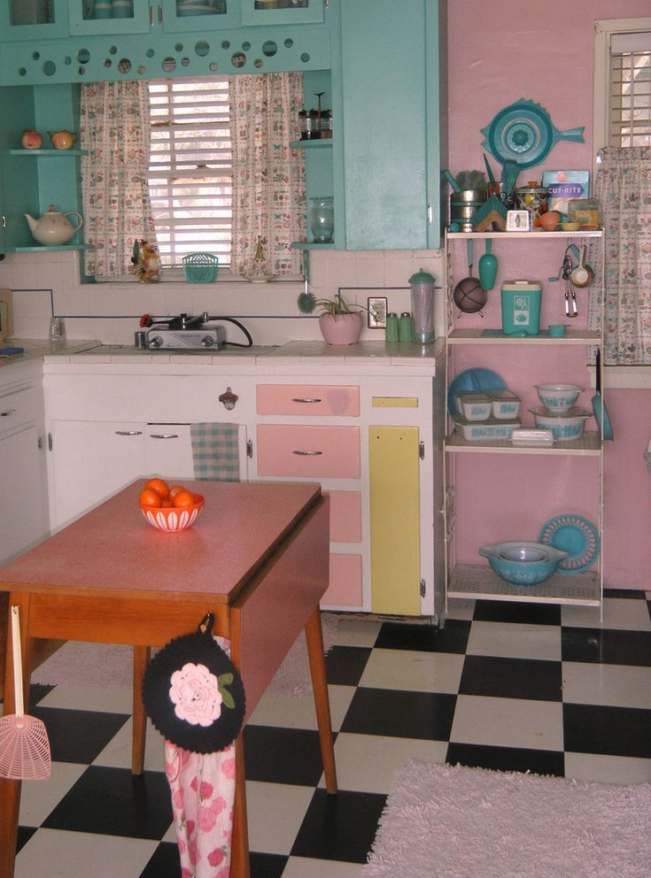 Pink And Blue Vintage Kitchen From Kitschy Living