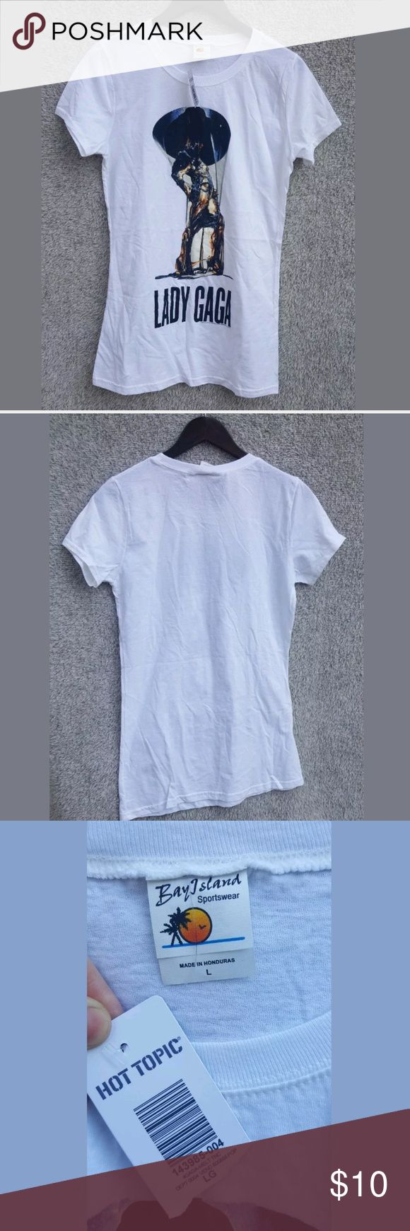NWT Lady Gaga long T-shirt large Brand new fitted large Lady Gaga t-shirt no rips or stains Hot Topic Tops Tees - Short Sleeve
