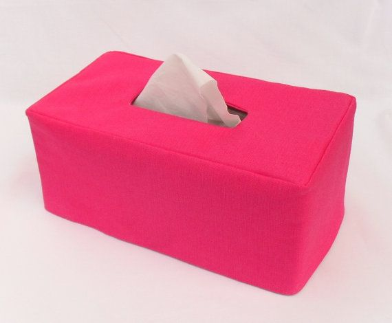 Hot Pink Linen Reversible Rectangle Tissue Box By