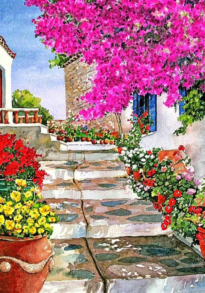 Paisajes con Flores de Pantelis Zografos       CUADROS DE BALCONES Y PATIOS CON FLORES   Pinturas Decorativas de Paisajes con Flores Pintad...