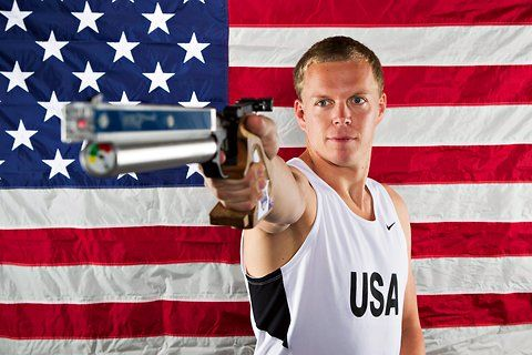 Dennis Bowsher with a laser pistol that will be used in the modern pentathlon at the 2012 London Olympics.