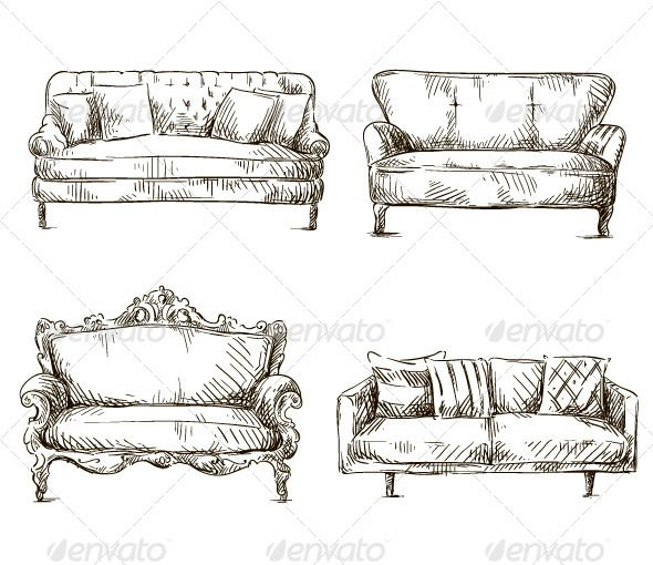 Pin By Divya Dubey On Drawing Living Room: Set Of Sofas Drawings Sketch Style